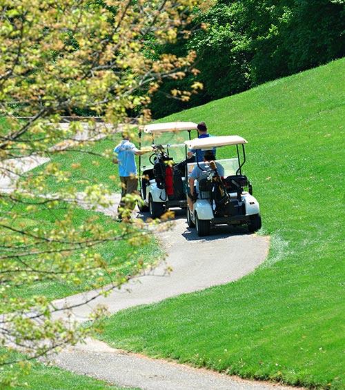 Golfers enjoying a sunny day in golf carts